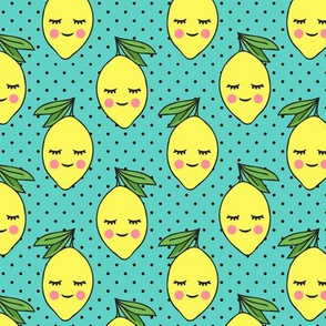 happy lemons - teal with black polka dots