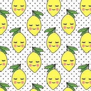 happy lemons - black polka dots