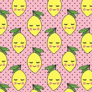 happy lemons - pink with black polka dots
