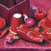 Red Pastel Vegetable Tea Towel