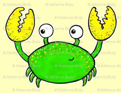 Cute crab on yellow
