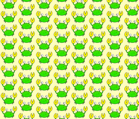 Cute crab on yellow fabric by adriennebody on Spoonflower - custom fabric