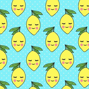 happy lemons - blue with polka dots