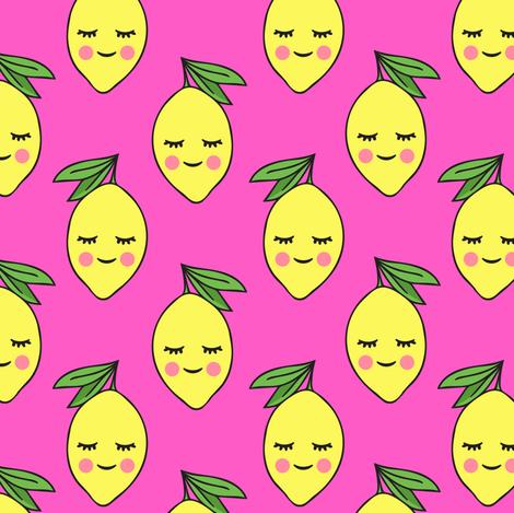 happy lemons - hot pink fabric by littlearrowdesign on Spoonflower - custom fabric