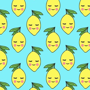 happy lemons on blue
