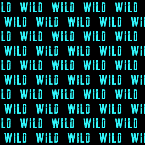 (small scale) wild on black (bright blue) fabric by littlearrowdesign on Spoonflower - custom fabric
