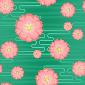 Cloudy Sakura in Peach on Green
