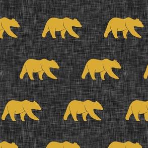 (small scale) bears -  mustard on dark grey