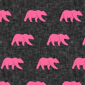 (small scale) bears - pink on dark grey
