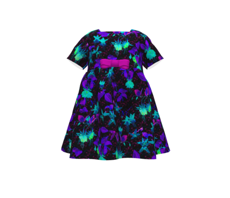 GLOWING IN THE NIGHT EFFECT FUCHSIA FLOWERS ULTRA VIOLET AQUA TURQUOISE BLUE