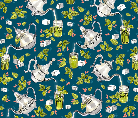 Moroccan Mint Tea fabric by marketa_stengl on Spoonflower - custom fabric