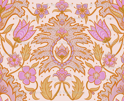 Boho Floral Tile - Pink and Ochre