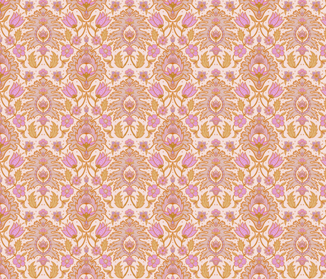 Boho Floral Tile - Pink and Ochre fabric by colourcult on Spoonflower - custom fabric