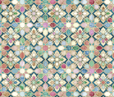Muted Moroccan Mosaic Tiles - large version fabric by micklyn on Spoonflower - custom fabric