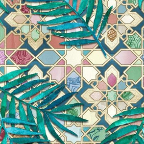 Muted Moroccan Mosaic Tiles with Palm Leaves - large version