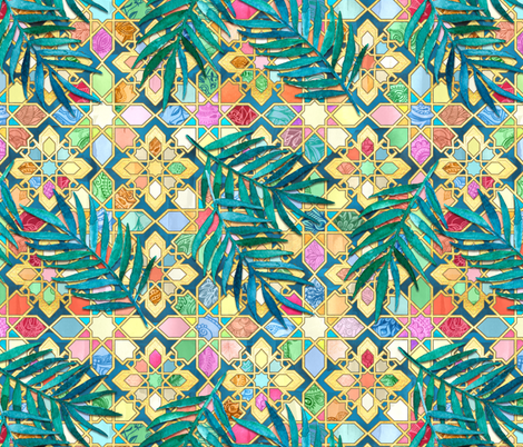 Gilded Moroccan Mosaic Tiles with Palm Leaves - large version fabric by micklyn on Spoonflower - custom fabric