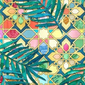 Gilded Moroccan Mosaic Tiles with Palm Leaves - large version