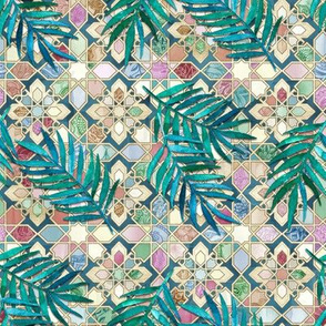 Muted Moroccan Mosaic Tiles with Palm Leaves - small version