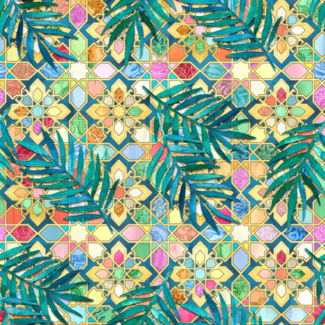 Gilded Moroccan Mosaic Tiles with Palm Leaves - small version fabric by micklyn on Spoonflower - custom fabric