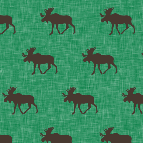 (small scale) brown moose on green linen fabric by littlearrowdesign on Spoonflower - custom fabric