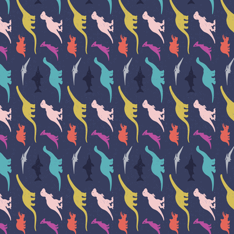 Silhouettes of dinosaurs fabric by penguinhouse on Spoonflower - custom fabric