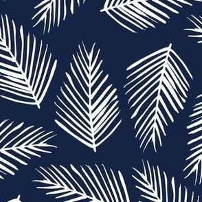 Tropical Shade - White on Indigo