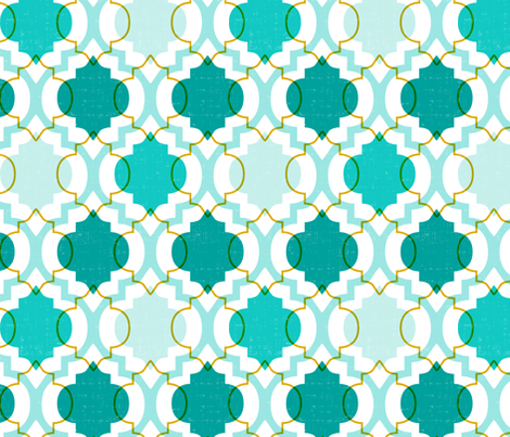Medina - Modern Ogee Geometric White & Aqua fabric by heatherdutton on Spoonflower - custom fabric