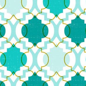 Medina - Modern Ogee Geometric White & Aqua