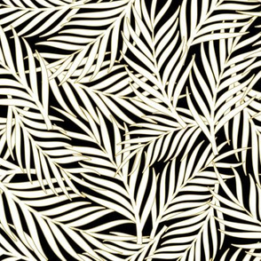 Tropical Leaves Bg Black