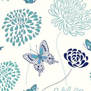flowers and butterflies - aqua