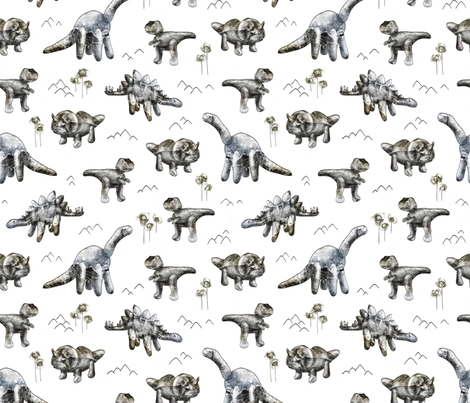Rocksaurs (White) fabric by boissindesign on Spoonflower - custom fabric