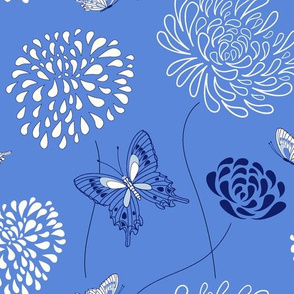 flowers and butterflies - blue and white