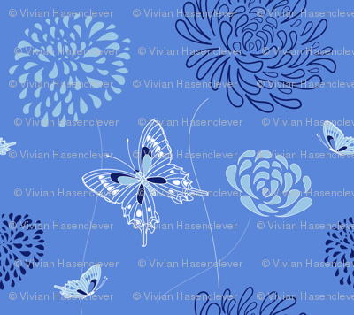 flowers and butterflies - blue