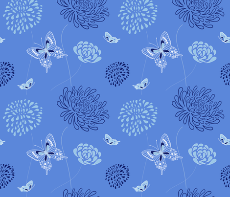 flowers and butterflies - blue fabric by vivdesign on Spoonflower - custom fabric