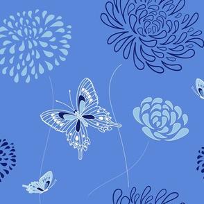 flowers and butterflies - blue