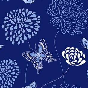 flowers and butterflies - dark blue