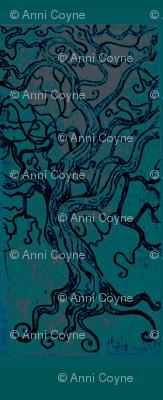tree tangle-dark forest -Intaglio print-mirrored-framed