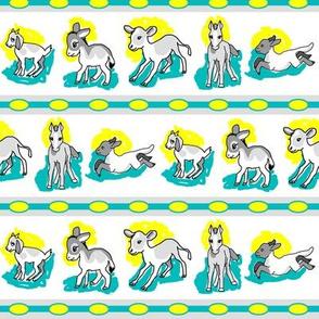 1950's Baby Farm Animals Stripe