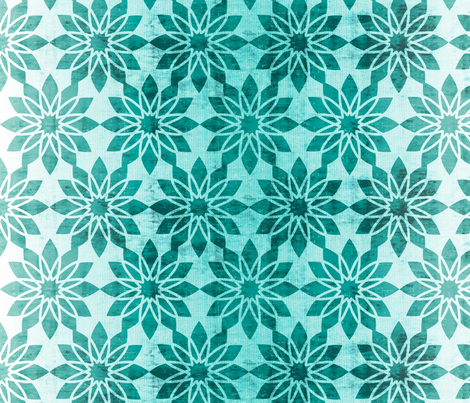 Majorelle - Textured Moroccan Geometric Aqua fabric by heatherdutton on Spoonflower - custom fabric