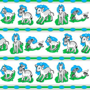 1950's Baby Farm Animals Stripe in Blue and Green