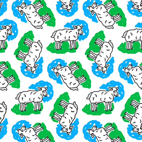 1950's Style Sheep in Blue and Green fabric by eclectic_house on Spoonflower - custom fabric