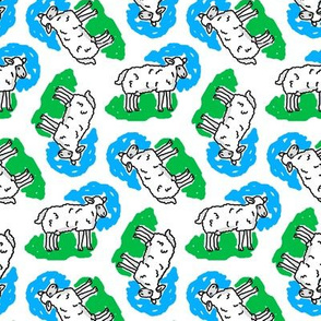 1950's Style Sheep in Blue and Green