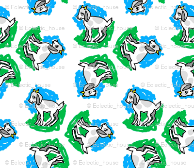 1950's Style Baby Goat in Blue and Green