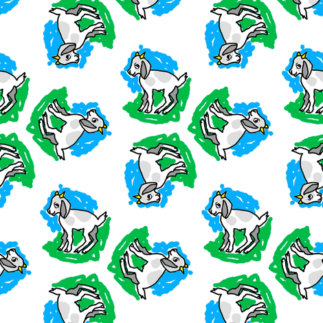1950's Style Baby Goat in Blue and Green fabric by eclectic_house on Spoonflower - custom fabric