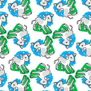 1950's Style Calf Baby Cow in Blue and Green
