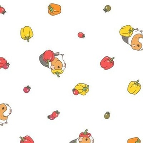 Yellow and red pepper Guinea pig Pattern