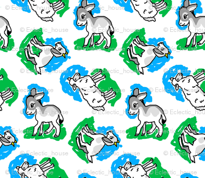 1950's Style Sheep Goat and Donkey in Blue and Green