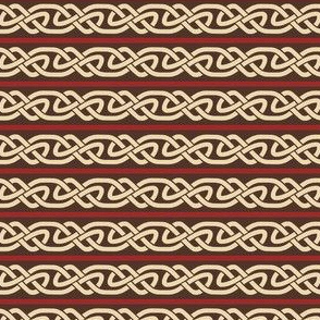 Knotwork and Lines in Cream, Red and Brown