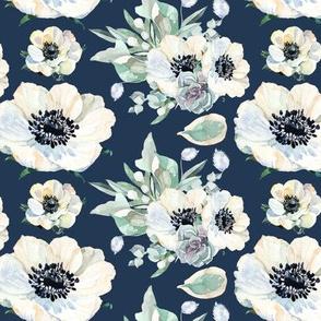 "Tennessee Flowers Pattern Dark Blue 6"""