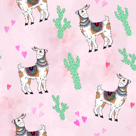Pink Llama and Cactus fabric by inkedinred on Spoonflower - custom fabric